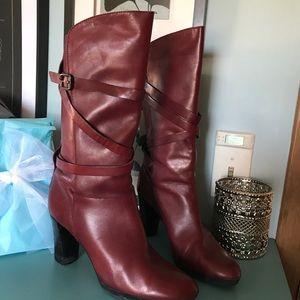 Franco Sarto Oxblood Burgundy strappy boots